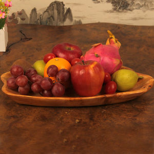 Carved Wood Natural Wooden Home Dining Wood Fruit Plate